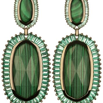 Kaki Baguette Earrings in Green Malachite - Kendra Scott Jewelry