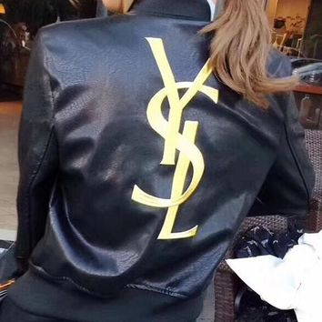 YSL female Leather clothing Embroidery Loose coat