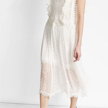 Embroidered Silk Dress with Crochet - Zimmermann | WOMEN | US STYLEBOP.COM