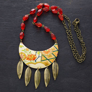 Tribal Bib Necklace with Vintage Tin and Antique Brass Feather Spikes and Chain, Red Glass Beads, Spike Necklace, Tribal Jewelry