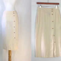 Vintage Linen Skirt Linen Blend Skirt Side Button Skirt Pale Yelloe Skirt Linen and Cotton Skirt s as medium vintage size 8