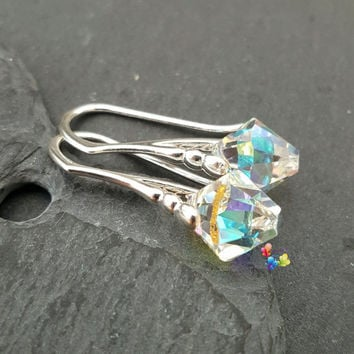 Swarovski Crystal Earrings, Clear AB, Sterling Silver, Gift for her, wife, girlfriend, fiancee, sister, Prism, rainbow