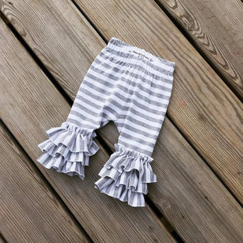Grey stripe leggings,Triple ruffle leggings,girls icings,baby ruffle pants,infant ruffle leggings,newborn ruffle leggings,coming home outfit