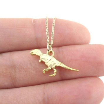 Textured Velociraptor Dinosaur Silhouette Shaped Pendant Necklace in Gold