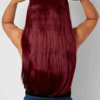 Burgundy Straight Instant Full Head Clip In Hair Extensions | Pink Boutique