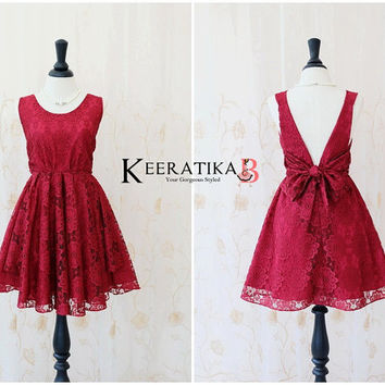 A Party V Charming Dress Luxury Lace Burgundy Lace Dress Burgundy Backless Party Dress Prom Cocktail Dress Red Lace Bridesmaid Dress XS-XL