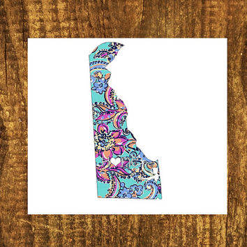 LILLY PULITZER Deleware Home Decal | Deleware State Decal | Homestate Decals | Love Sticker | Love Decal  | Car Decal | Car Stickers  | 048