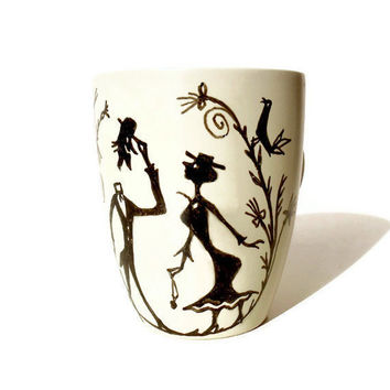 Handpainted Coffee cup mug Gentleman by byAnnoDomini on Etsy
