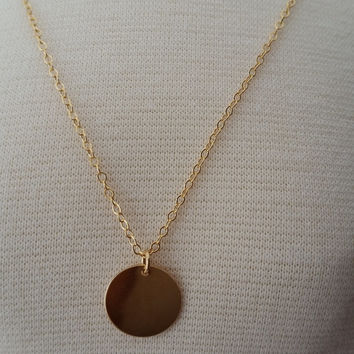 Gold disc necklace, Personalized gold disc necklace, 14k gold disc necklace, Circle monogram necklace, Gold letter necklace, Custom letter
