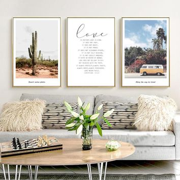 Nordic modern text car Cactus Canvas Painting Wall Art Posters And Prints Nordic Poster Watercolor Wall Pictures For Living Room