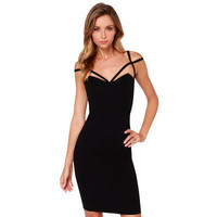 SIMPLE - Fashion Black Slim Backless Sexy Strap V Neck One Piece Dress b5111