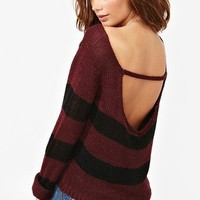 Gina Stripe Knit - Wine in Clothes at Nasty Gal