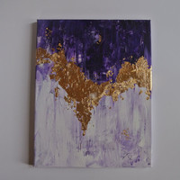 Purple, Gold, and White Abstract Painting on Canvas