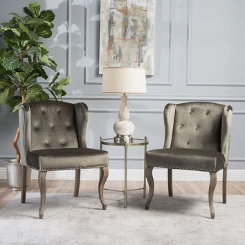 Natalia New Velvet Wingback Club Chair