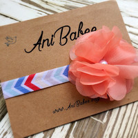 Baby Headband, Tribal Print Headband, Flower Headband, aztec print, Infant headband, Headband for girls