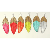 Neon Mohave - Faux Leather Feather Earrings - Surgical Steel-  up to 5 in