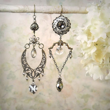 Petrichor Asymmetric Tribal Earrings, Leaf Leaves Bronze Filigree Tibetan Agate Pyrite Boho Vintage Silver Gray Grey Earrings, Shabby Chic
