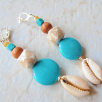 Afrocentric Earrings, Long Earrings, Turquoise Cowrie Shell Earrings,  Boho Jewelry, African Earrings, Beach Earrings, Cowrie Shell Earrings