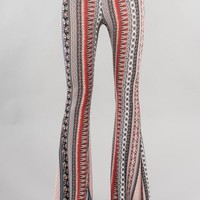 Paisley Floral Flare Pants -Red & Ivory