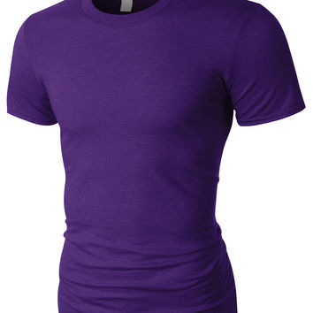 PREMIUM Mens Slim Fit Triblend Short Sleeve Crewneck T Shirt