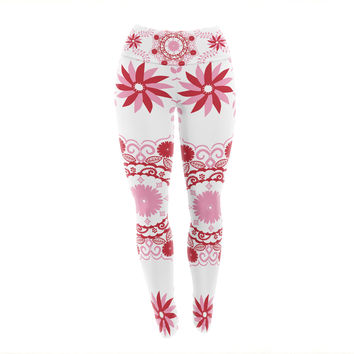 "Anneline Sophia ""Let's Dance Red"" Pink Floral Yoga Leggings"