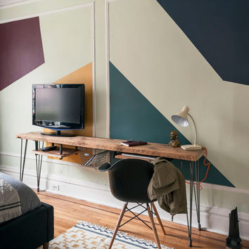 "Custom desk/media stand with mid century Hairpin legs with 1 drawer included, 72"" l x 11.5"" w x 30"" h, 1.65"" top"