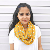 Mustard Yellow Infinity Scarf Turquoise Pattern Circle Scarf Womens Accessories