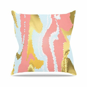 "Alison Coxon ""Modern Mosaic"" Gold Abstract Throw Pillow"
