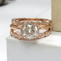 Moissanite Wedding ring set!Diamond Engagement Ring 14K Rose Gold,6.5mm Round Cut Moissanite plain gold,Art Antique,Stackable Matching Band