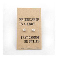 'Friendship' Knot Silver Earrings
