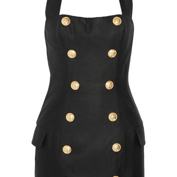 Balmain - Canvas halterneck mini dress