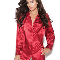Charmeuse satin long sleeve sleep shirt Red 3X