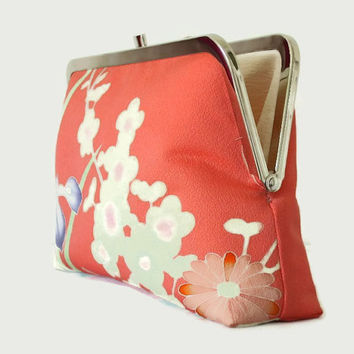 "Floral Pink Clutch Purse With Plum Blossom And Iris Pattern, Coral Pink Clutch Purse, Summer Clutch Bag Made From Japanese Silk 9"" x 5.5"""