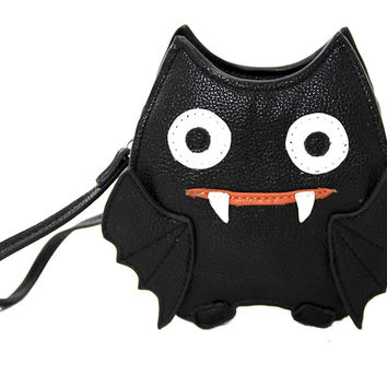 Cute Little Spooky Vampire Bat Wristlet Coin Purse Bag