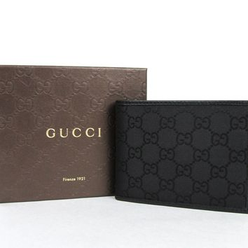 One-nice™ New Gucci Men's Black Guccissima Nylon Wallet w/Coin Pocket 143384 1000