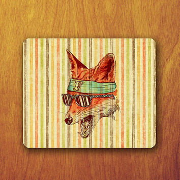 Funny Fox Painting Vintage Mouse Pad Art and RetroOffice Deco Desk Pad Computer Office Work Accessory Personalized Custom Teacher Gift