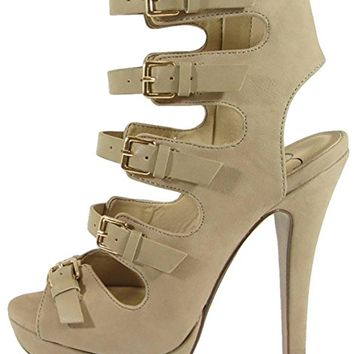Delicious Shoppy Patron Women's Platform Lace Up Heels