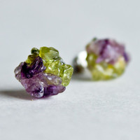 Amethyst peridot stud earrings Rough Gemstone stud earrings Spring post stud earring
