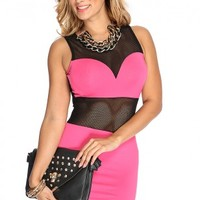 Fuchsia Netted Sexy Bodycon Dress