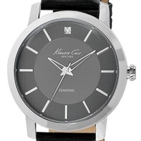 Men's Kenneth Cole New York Diamond Marker Leather Strap Watch, 44mm
