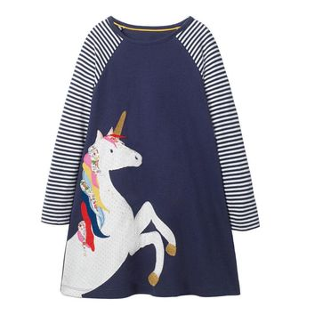 Littlemandy Girls Dress Black Unicorn 2018 Party Girls Long Sleeve Dresses Animal Applique Kids  Baby Girl Clothes Unicornio Hot
