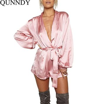 2016 Autumn Elegant Jumpsuit Romper Long Sleeve Satin Casual Bodycon Playsuit Women Deep V Neck Short Overalls Combinaison Femme