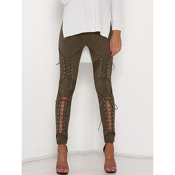 Laced Up Suede Rhi Rhi Leggings - Army Green