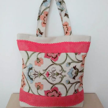 Floral tote bag, crochet lace bag, large fabric tote, summer bag, lace tote bag