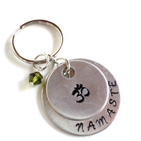 Namaste Keychain Hand Stamped Om Ohm Aum Yoga Accessories Bag Charm Engraved Unique Gift For Her Christmas Stocking Stuffer Under 50 Item N8
