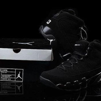 ONETOW VAWA Mens Air Jordan 9 Retro Leather High Anthracite 302370-013 Basketball Shoes Black