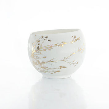 Porcelain Cup with Real Gold Twig & Branch