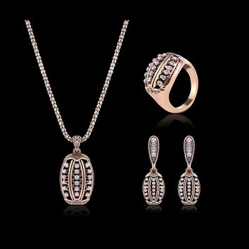 Turkey Series Crystal Necklace Rhinestone Ring Gold Earrings Gift Jewelry Set