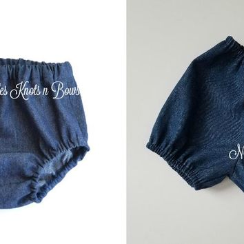 Baby Denim Diaper Cover, Jean Bloomers, Denim Nappy Cover, Boys or Girls Shorts