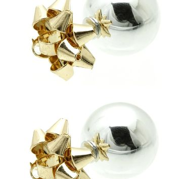Sliver Metal Gift Bow Doublesided Christmas Earring